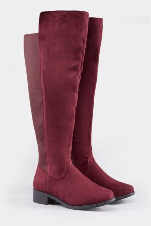 XL Calf Over The Knee Boots With Stretch Panel