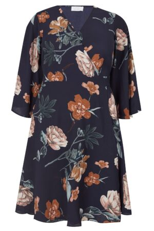 YOURS LONDON Navy Floral Wrap Dress