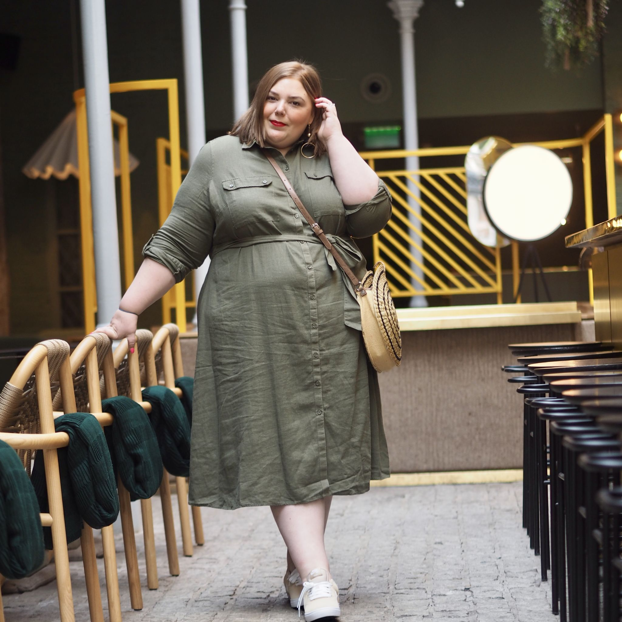 plus size khaki linen dress